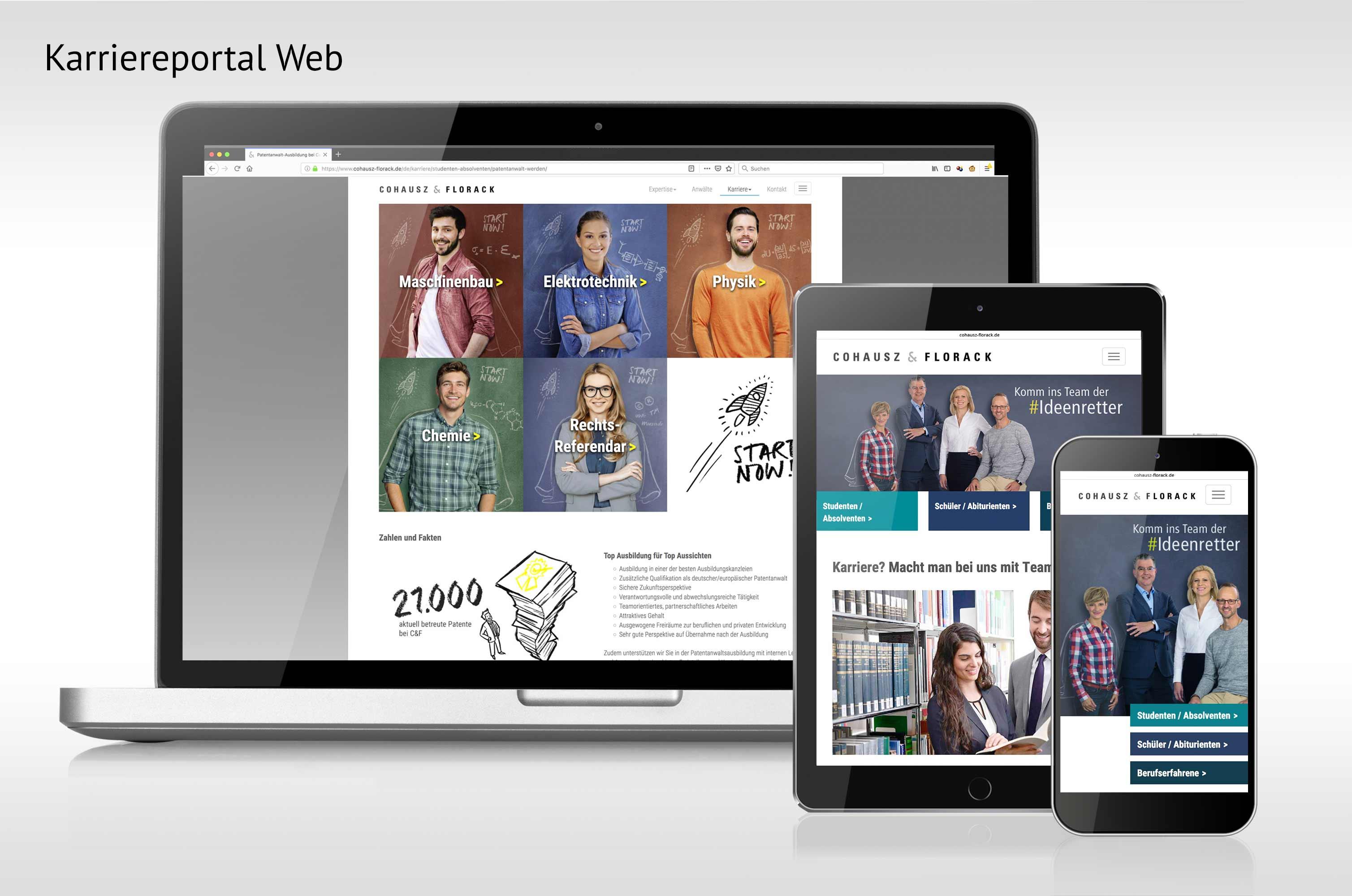 Ansicht der neuen Karriere-Website auf Laptop, Tabelt und Smartphone