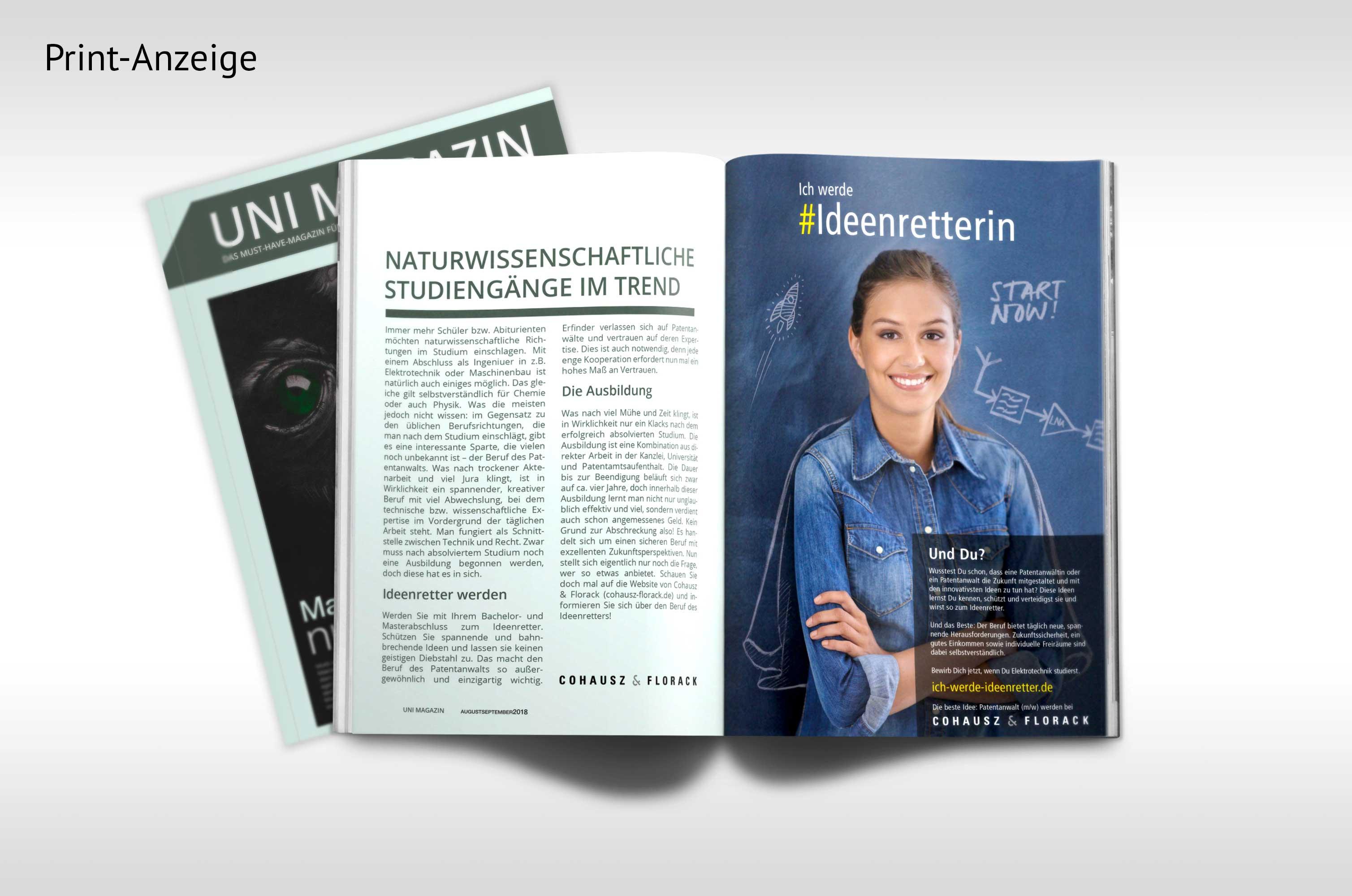 Ansicht einer Print-Anzeige innerhalb eines Uni-Magazins