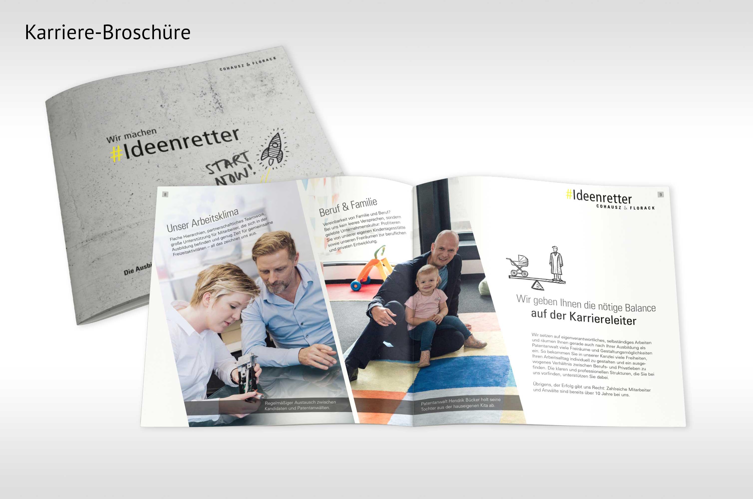 Cover und aufgeschlagene Broschüre für Employer Branding