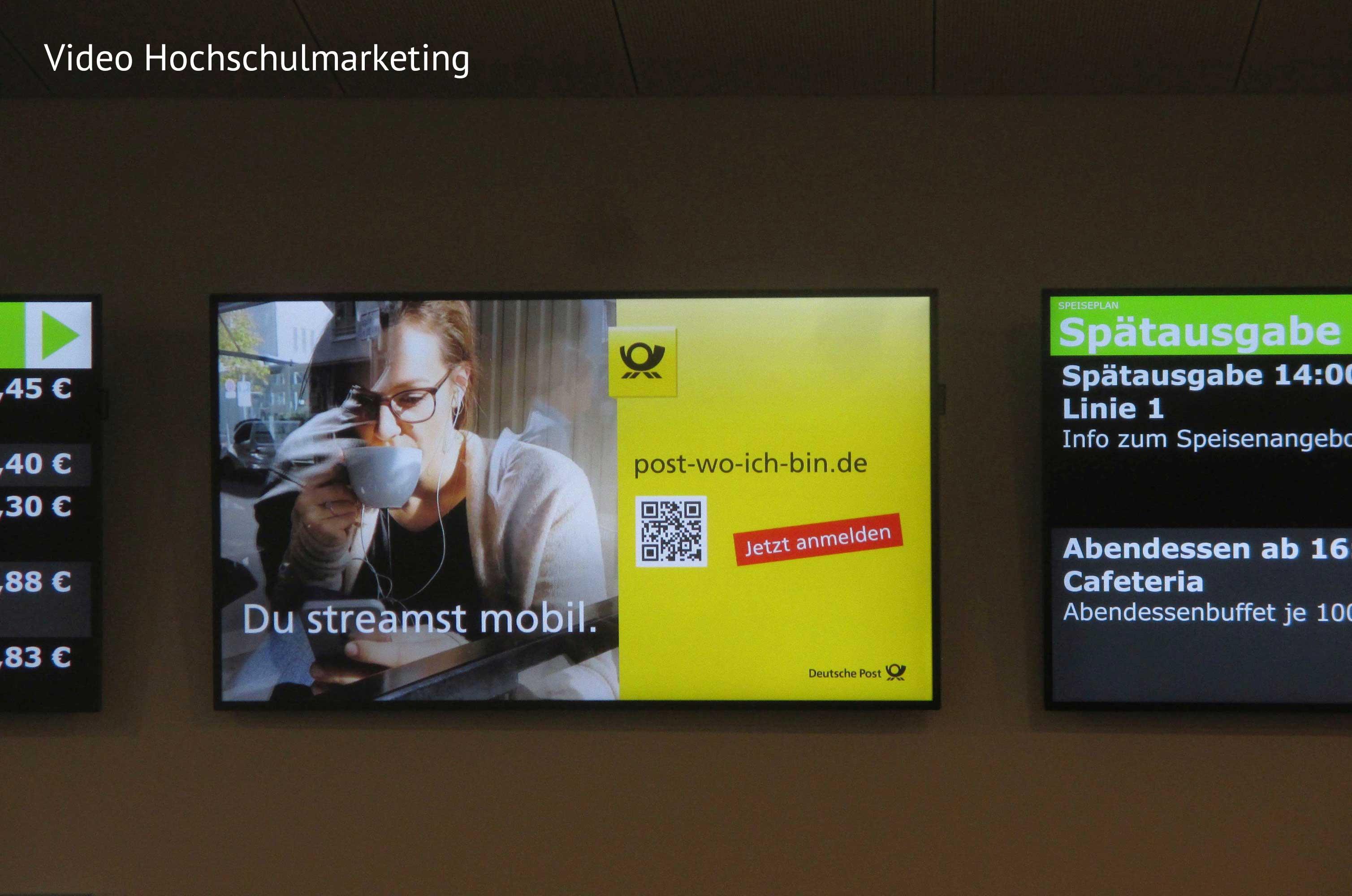 Digitale Werbemittel an Hochschulen für die E-POSTSCAN Kampagne