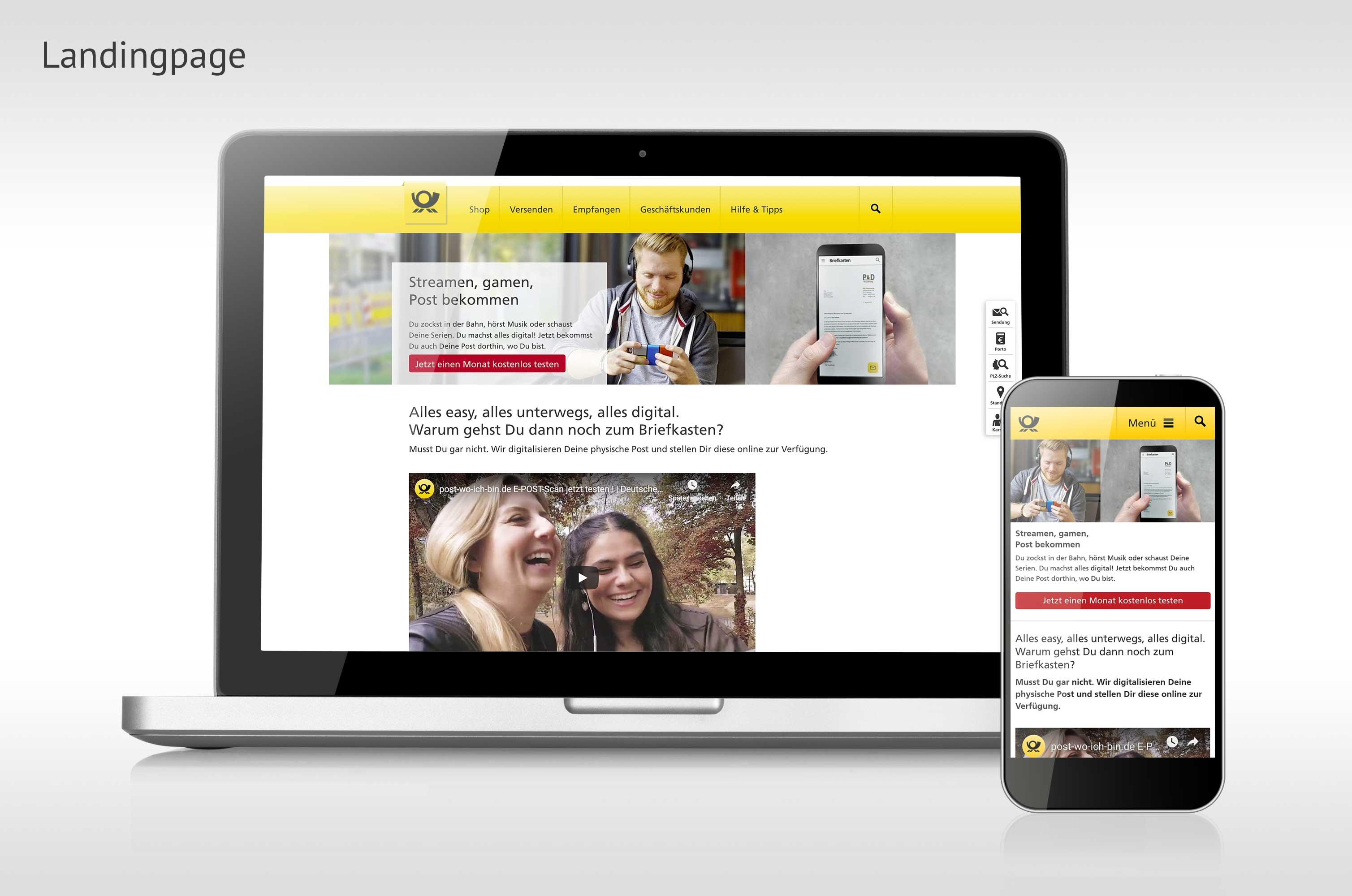 E-POSTSCAN Landingpage auf der Website der Deutschen Post