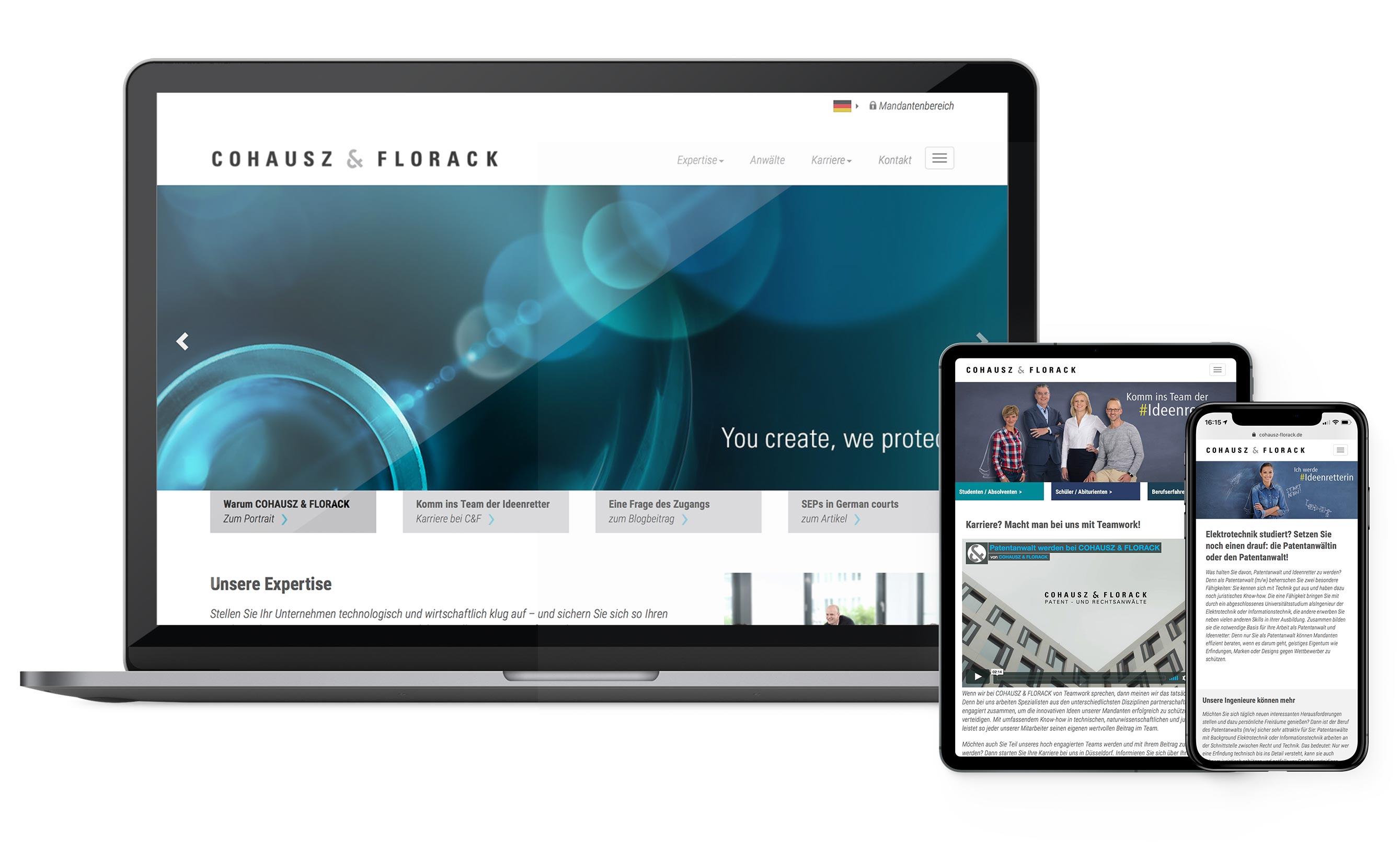 Darstellung der Websitegestaltung für Cohausz & Florack - Karriereseite, Landingpage, Responsive-Design