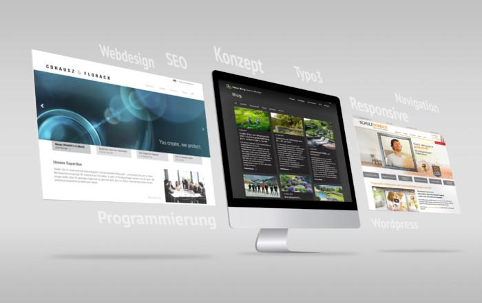 Darstellung von Websitegestaltung en inklusive Schlagworten