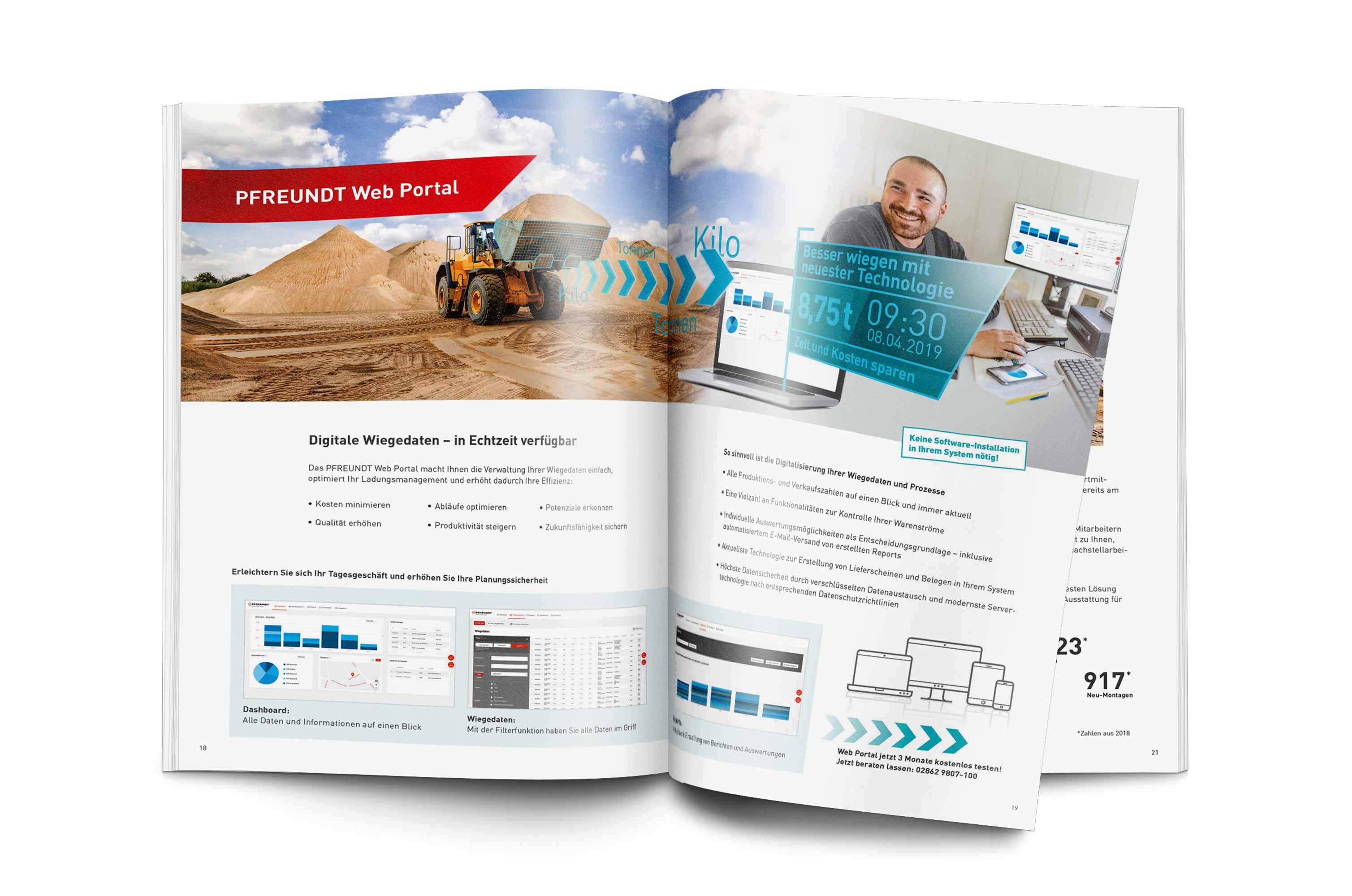 PFREUNDT Broschüre Entsorgung und Recycling – Abbildung von einer Doppelseite innen