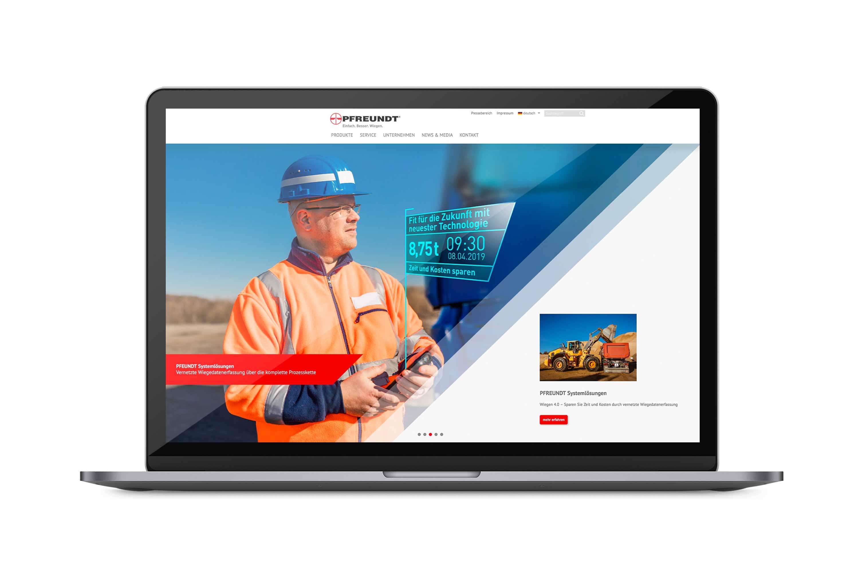 Websiteheader auf Laptop mit PFREUNDT Systemlösungen