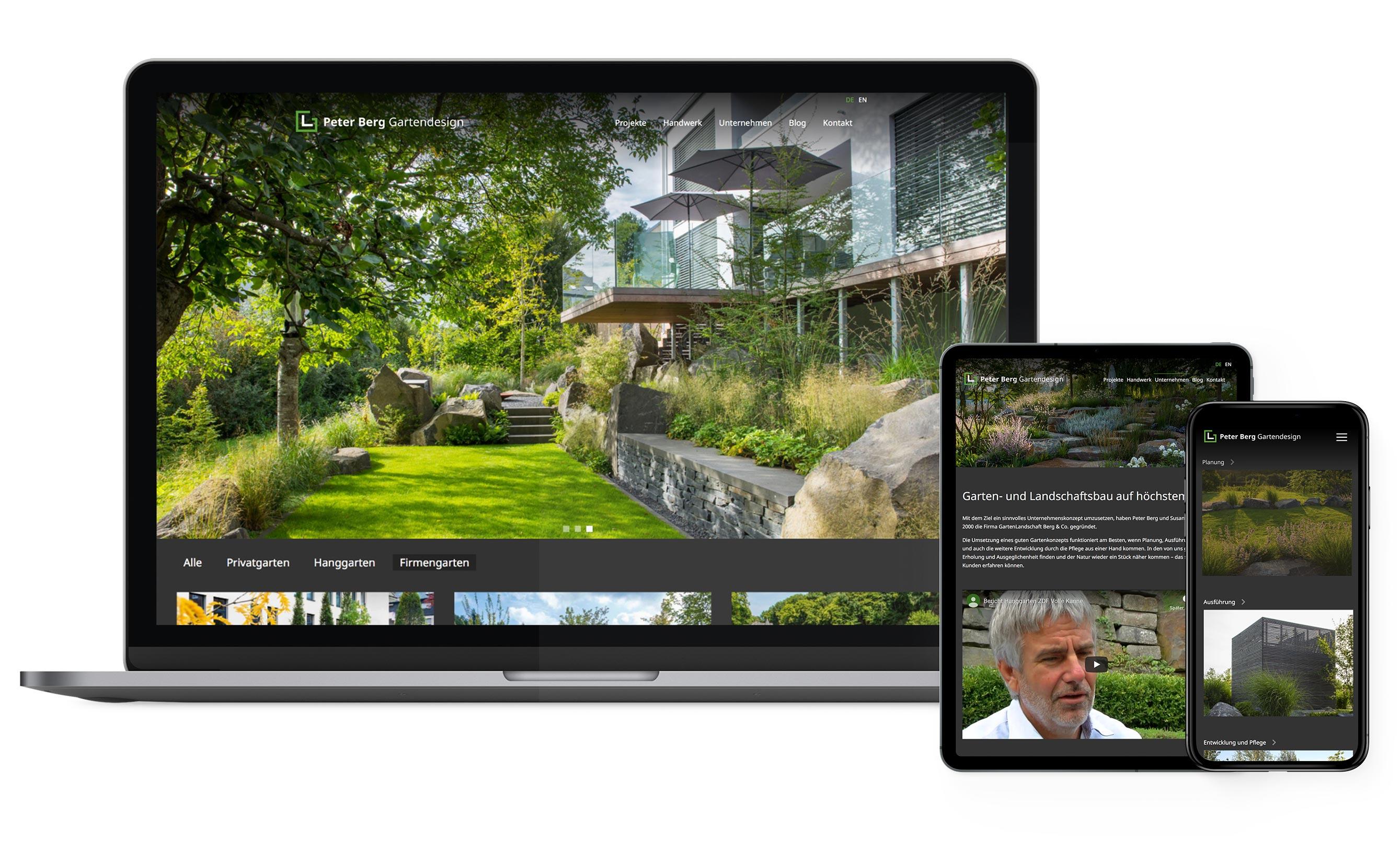 Darstellung des Webdesign für Peter Berg - Blog-Beiträge, Video-Content, News, Komminukationskonzept