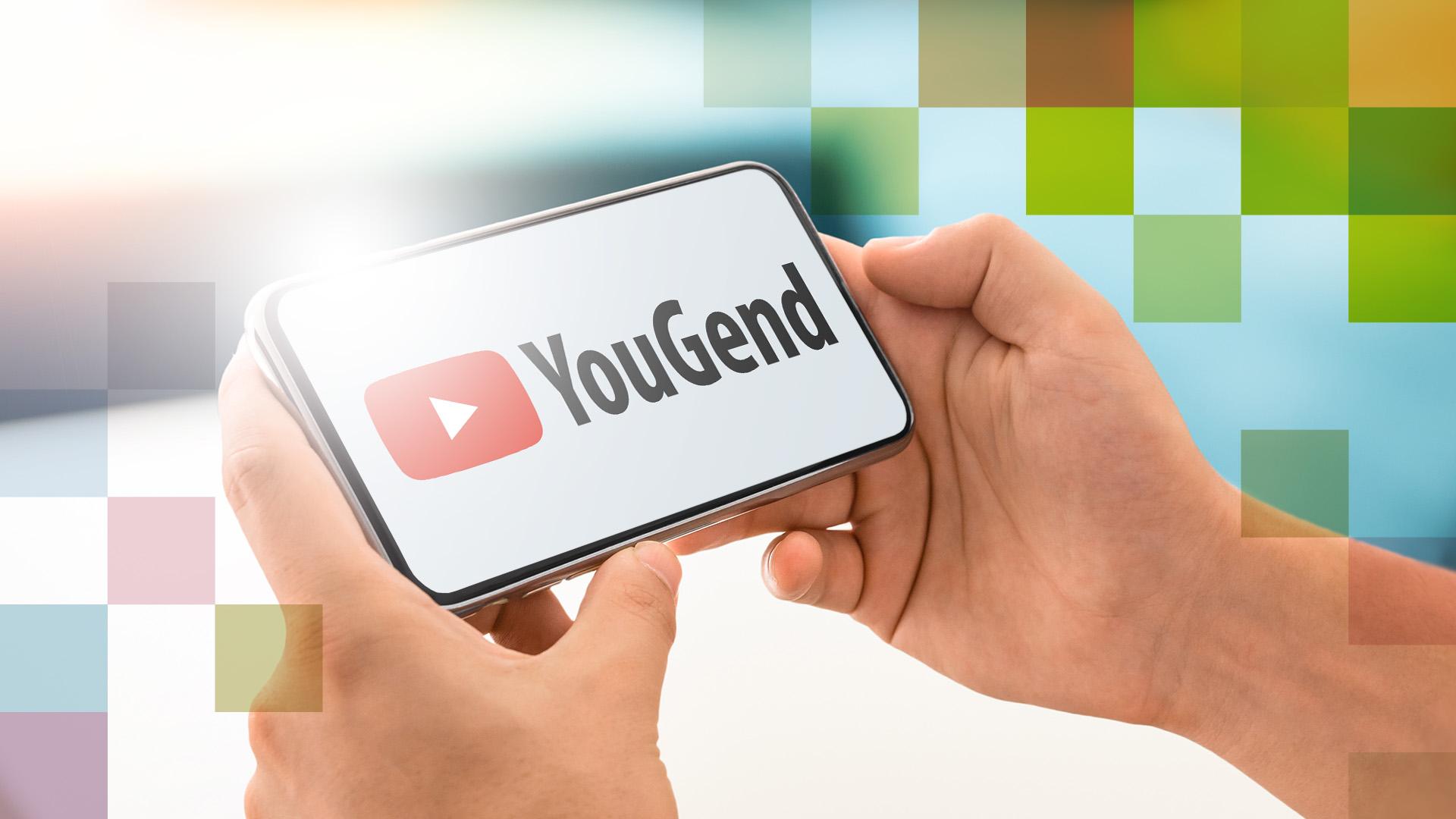 Smartphone umgeben von Pixelcloud, auf dem Display ist das YouTube Logo zusehen, daneben steht YouGend